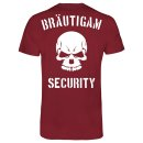 JGA Bräutigam Security T-Shirt Bordeaux Rot XL