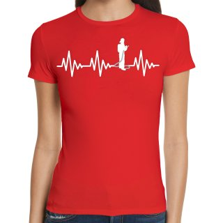 Heartbeat Firefighter Ladies T-Shirt
